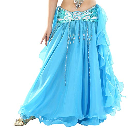 Vobony Jupe Longue élégante et Pratique en Mousseline pour Danse du Ventre Jupe Danse Orientale Mousseline Couleur Unie sans Ceinture Costume Danse (Lac Bleu)