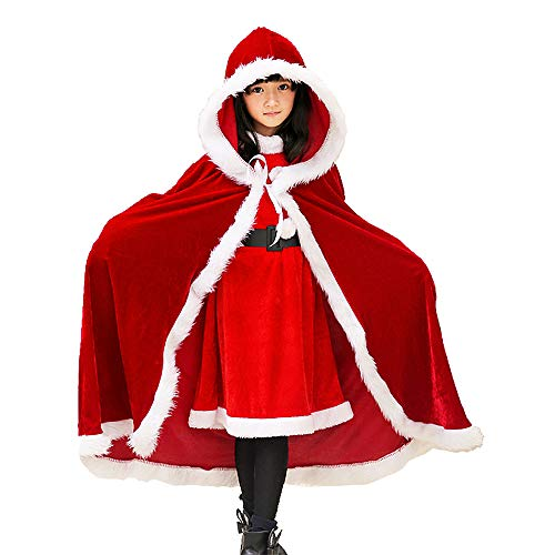 Child Christmas Cloak Deluxe Velvet Mrs Santa Claus Robe Hooded Cloak, Cappa Cape Coat Long Xmas Cos-play Costume (Red Kids)