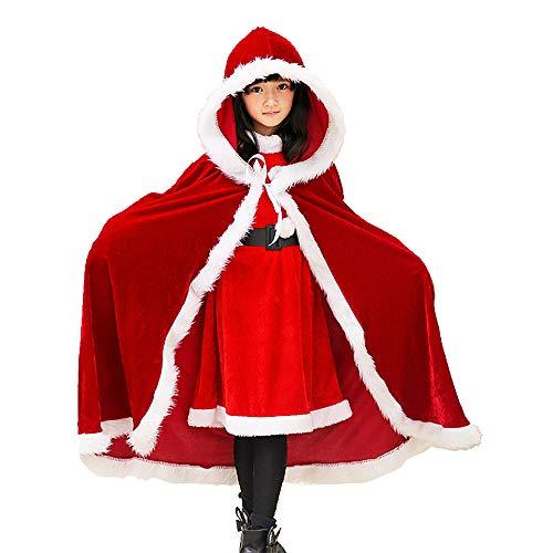 Child Christmas Cloak Deluxe Velvet Mrs Santa Claus Robe Hooded Cloak, Cappa Cape Coat Long Xmas Cos-play Costume (Red Kids)