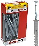 Fischer 508275 Tasselli prolungati a Battere N 6x80 Y, Fissaggio a percussione con chiodo premontato per Pieno, semipieno e calcestruzzo, 25 Pezzi per Confezione, Grigio, 6X80 MM