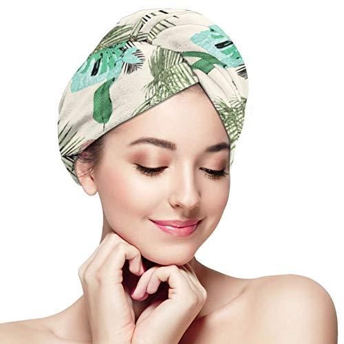 Toalla de pelo de microfibra para envolver palmas tropicales y flamenco vintage grunge pelo turbante toalla súper absorbente secado rápido gorras sombrero