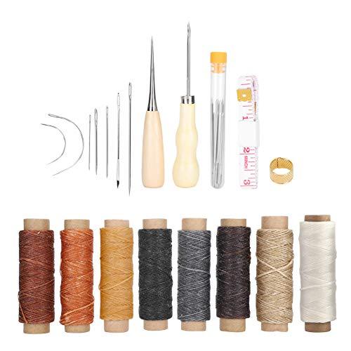 Kit de costura de cuero de 28 piezas, hilo de agujas, herramientas de reparación manual, juego de manualidades hecho a mano DIY