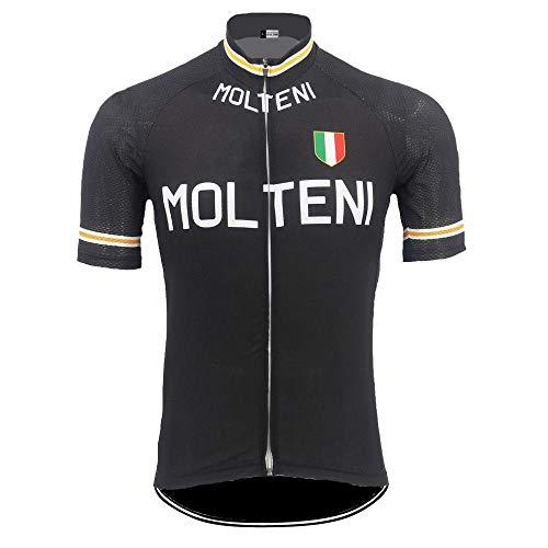 Retro Klassischen Männer Radfahren Jersey Kurzarm Fahrradabnutzung Jersey Atmungsaktiv Schwarz Rennrad Kleidung Zzzb (Color : Men, Size : M)
