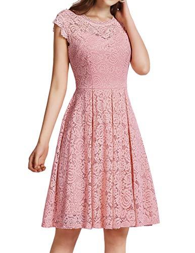 Meetjen Damen Festliche Cocktailkleid Elegante Abendkleid Hochzeitskleid Knielang Brautjungfern Midi Spitzenkleider Rosa Blush M