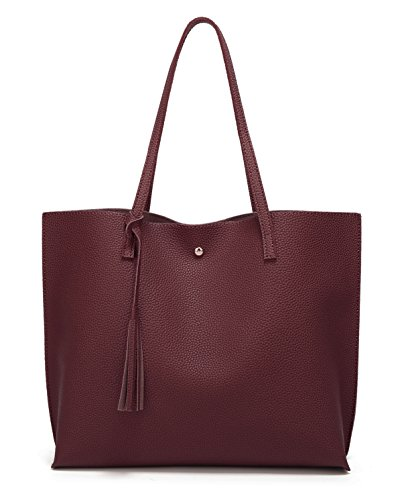 Women's Soft Faux Leather Tote Shoulder Bag from Dreubea, Big Capacity Tassel Handbag Dark Red