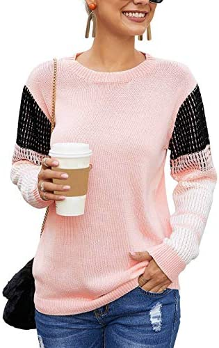 Koitmy Women s Cute Contrast Sleeve Knitted Pullover Sweater Pink product image