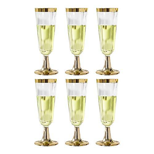 ZONJIE Copas de champán de oro desechables copas de champán copas de plástico para tostar, celebración, boda y fiesta