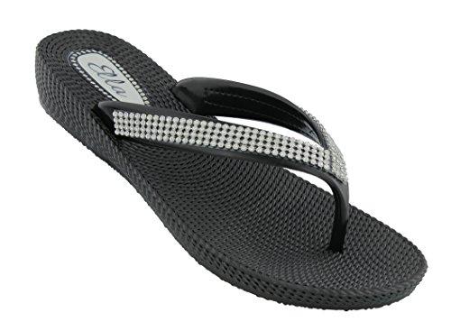 ella Womens S1 Low Wedge Toe Post Flip Flop Sandals in a Choice of Colours (UK 5 / US W7 / EU 38, Black)