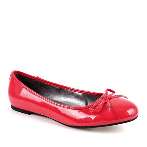 Flache Ballerinas für Damen und Junge Frauen mit flachem Blockabsatz und dekorativer Schleife - Loafer - TG104 - Lack Rot, EU 42