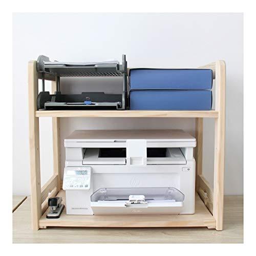 Soportes para Impresoras Impresora Soporte ajustable de 2 gradas de madera multifunción de almacenamiento en rack multiuso Organizador de escritorio de la máquina de fax, escáner, archivos, libros Car