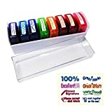 Teacher Stamp Set Self-Inking Motivation School Classroom Teacher Grading Stamp Set and Tray for Homework School Classroom (8-PCS)1 Pack