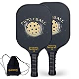 Pickleball Set, Pickleball Paddles, Pickleball Paddle Set of Two, Gold Balls Best Pickleball Paddle with Racquet Cover as Pickleball Gifts for Women Men Beach Ball Game Outdoor