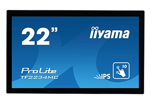 iiyama ProLite TF2234MC-B6AGB 55 cm (22 Zoll) IPS LED-Monitor Full-HD Open Frame 10 Punkt Multitouch kapazitiv (VGA, HDMI, DisplayPort, USB für Touch, IP65, Anti Glare) schwarz