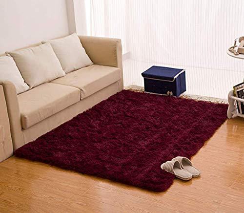 CNFQ Shaggy alfombras de Pelo Largo alfombras Salon alfombras de habitacion moquetas Sala de Estar (Burdeos, 120 x 80 cm)