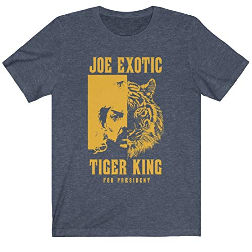 Joe Exotic The Tiger King T-Shirt | Joe Exotic for President Tshirt | Unisex Sizing (X-Large, Heather Navy)
