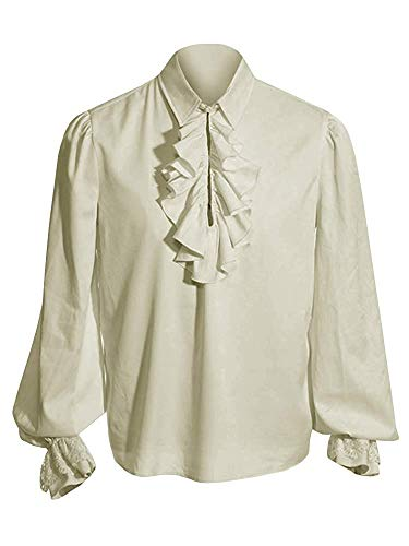 Mens Pirate Medieval Shirts Ruffle Steampunk Gothic Costume Cosplay Renaissance Victorian Tee Viking Tops