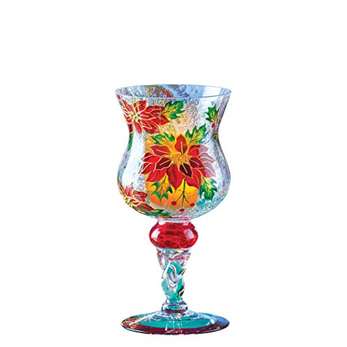 Collections Etc Poinsettia Christmas Crackled Glass Hurricane Candle Holder
