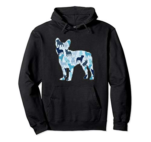 French Bulldog Blue Camo Dog Camouflage Pullover Hoodie