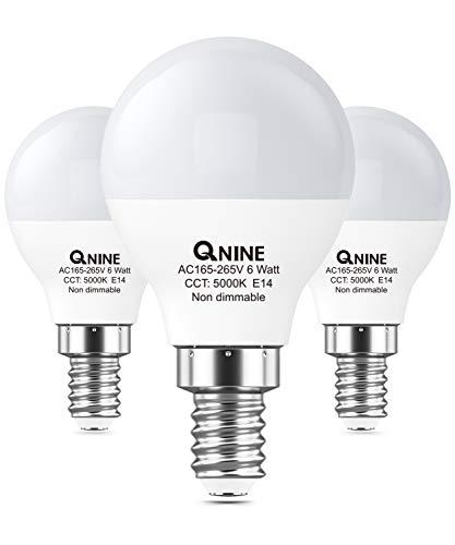 QNINE LED Birne E14 Kaltweiss(5000K), 6W(ersetzt 40-50W Glühbirne), 540 lumen, 3 Stück, Nicht dimmbar, LED Lampe/Leuchtmittel P45 in der Tropfenform, Abstrahlwinkel: 270°, 165-265V AC