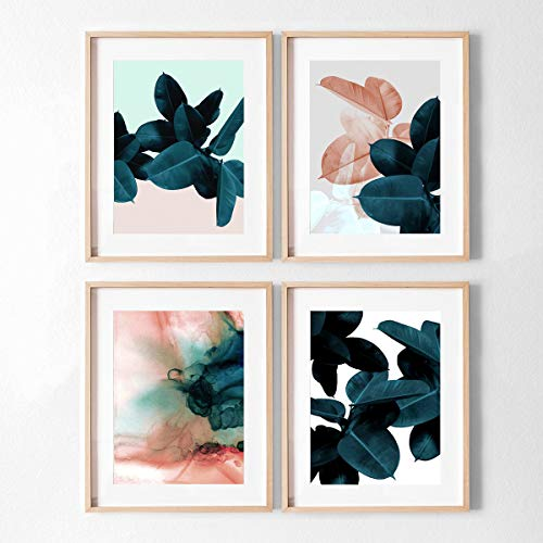 MoharWall Above Bed Wall Art Wedding Gift Blue Plant Print Botanical Watercolor Poster Women Room Décor
