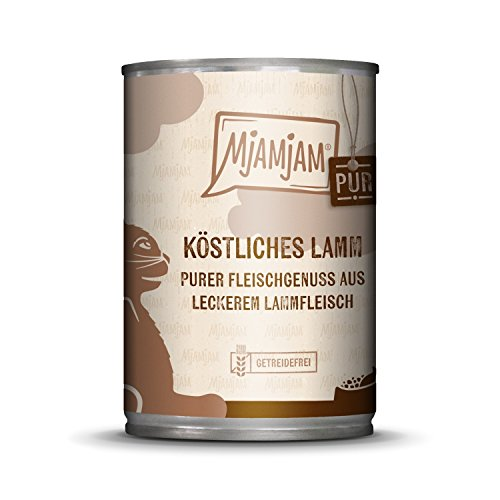 MjAMjAM - Premium nat voer voor katten - puur vleesgenot - heerlijke lam puur, per stuk verpakt (1 x 400 g), graanvrij met extra veel vlees.