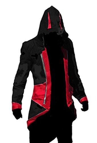 fantasycart Connor Kenway Costume Hoodie Costume Jacket Coat Black&Red Size M