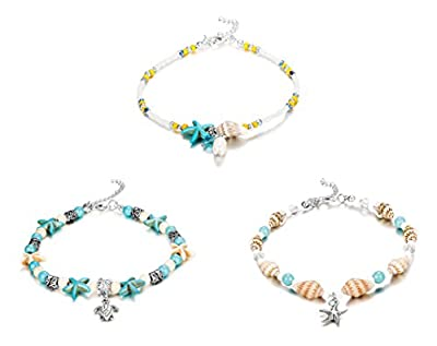 "Finrezio 1-3Pcs Ankle Bracelets Women Girls Bead Anklet Starfish Turtle Turquoise Stone Boho Beach Anklets Foot Chain Jewelry ""Ocean Series"""