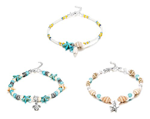 """FINREZIO 3Pcs Ankle Bracelets for Women Girls Bead Anklet Starfish Turtle Turquoise Stone Boho Beach Anklets Foot Chain Jewelry """"Ocean Series"""" (3 PCS Anklets)"""