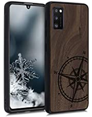 kwmobile telefoonhoesje compatibel met Samsung Galaxy A41 - Hoesje met bumper in donkerbruin - Vintage Kompas