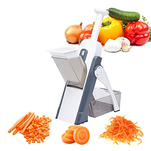 MYACE Mandoline Upright Safe Slicer Adjustable Thickness – Perfect Cuts, Dice For Vegetable, Potato & Fruits - Quick Easy Meal Preparation & Durable - 14 internal-blade safety design (Gray)
