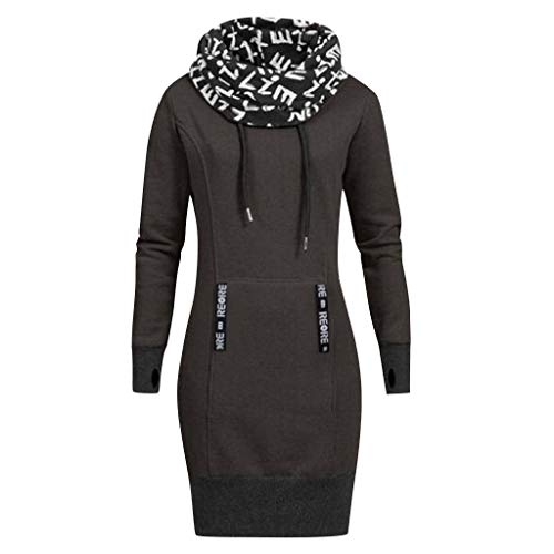 Leey Damen Mode Hoodie mit Zip Langarm Pullover Jumper Pulli Sweatshirt Jumper Sweatkleid 4 Farben (M, Dunkelgrau H)