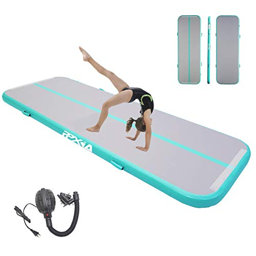 PPXIA Gymnastics Air Mats Inflatable Tumbling Mat 4 inches Thickness Air Floor Tumble Track Mat with Pump for Yoga Training Cheerleading Home Beach Park and Water Use