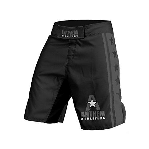 "Anthem Athletics Resilience MMA Shorts - Fight Shorts, BJJ, WOD, Cross-Training, OCR - Black & Grey - 35"""
