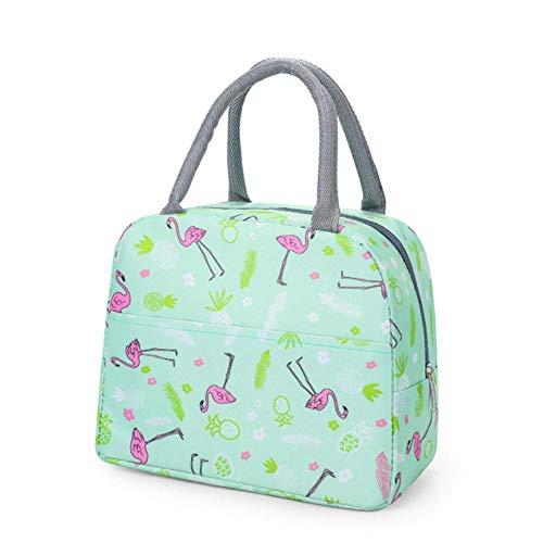 Animal Print Waterproof Nylon Portable Rits Lunch Bag Dames Student Lunch Box Thermo Bag Office School Picknick Koeltas Bolso, Groene Flamingo