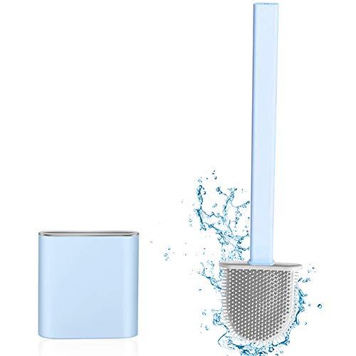 Silikon Toilettenreinigungsbürsten-Kit, Toilet Brush, Klobürste Silikon, Toilettenbürste Set WC Bürste Silikon,Silicone Flex Toilet Brush,mit Halter Schnell Trocknendem WC-Garnitur (Blau)