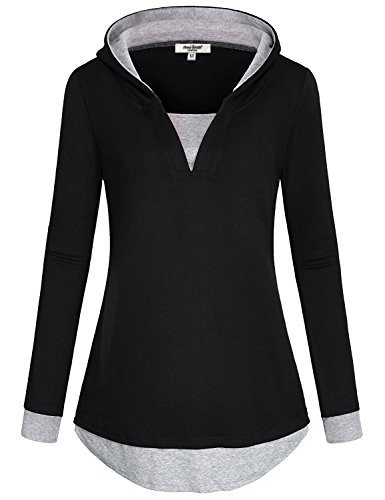 Anna Smith Hoodies Tunic for Women, Going Out Clothing V-Neck Stretchy Lightweight Rounded Bottom Knitwear T Shirts Retro Long Sleeve Casual Pullover Tops and Blouses Black XXL