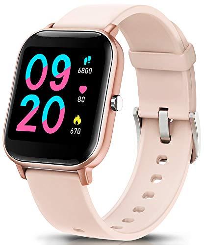 """NAIXUES Smartwatch, Reloj Inteligente Impermeable IP67 Reloj Deportivo 1.4"""" Pantalla Táctil Completa con Pulsómetro, Monitor de Sueño, Podómetro, Notificaciones para Mujer Hombre (Rosa Oro)"""