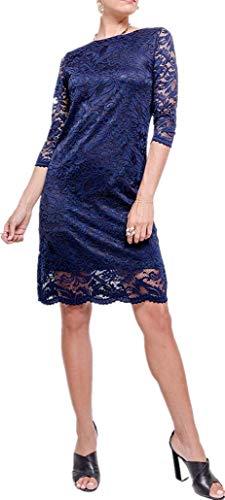Joys® Damen Abendkleid, kurz, Spitze mit Blumen, Vintage-Kleid, Cocktailkleid, 3/4-Ärmel Gr. M-L, Marine