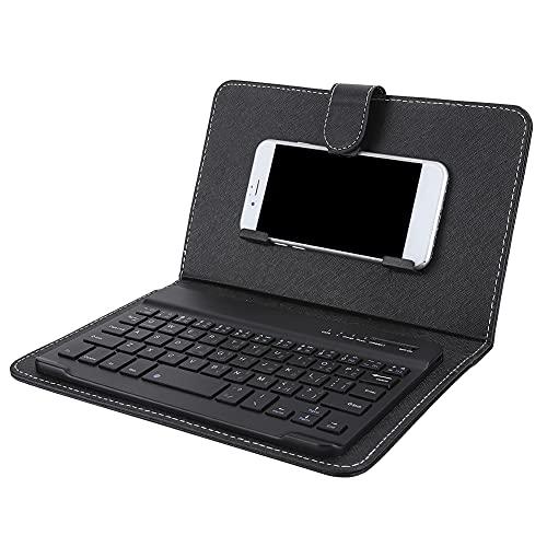 Dpofirs 23x14x2.5cm Teclado de Árabe Universal para Teléfonos de 4,5 a 6,8 Pulgadas, Teclado Inalámbrico para Bluetooth con Funda de Cuero y Soporte para Teléfonos Móviles, Color Negro