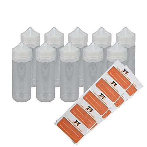 10 x 120ml Liquid-Flaschen aus PET inkl. 10 Etiketten - Leerflaschen, Plastikflaschen, Quetschflasche, Kunststoffflaschen, Unicorn Bottle, Stiftflaschen, Tropfflaschen, Dosierflaschen (120 ml)