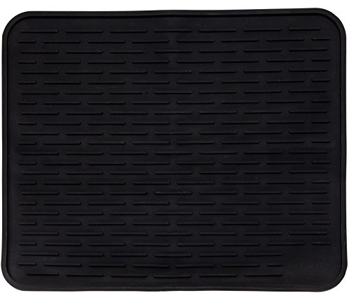 XXL Super Size Silicone Dish Drying Mat 24 x 18 Inch - Large Counter Top Dish Pad and Trivet by LISH (Black, 24 x 18)