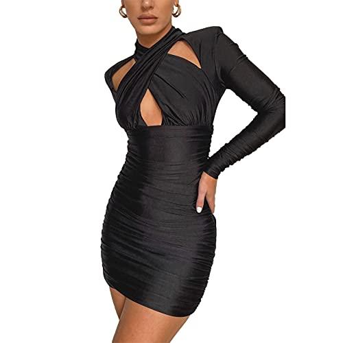 ZhaZhaMeng Mini vestido sexy de manga larga fruncido bodycon con ahueca hacia fuera el vestido de fiesta flaco, Negro, M