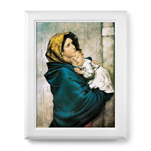 libreriadelsanto. IT Marco Virgen del Ferruzzi con lámina Oro y Marco con decoración de Relieve