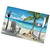 Print Animated Beach Placemats for Dining Table Set of 6,Rectangular Placemats,Placemats for Kitchen