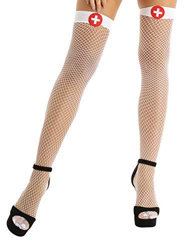 Yeahdor Damen Krankenschwester Strümpfe Kostüm Sexy Halterlose Netzstrümpfe Kniestrümpfe Fishernetz Erotische Babydoll mit Rotes Kreuz Halloween Cosplay Weiß One Size