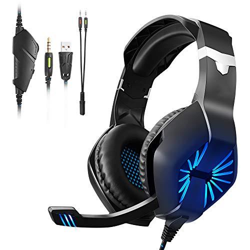 Auriculares para Juegos, Auriculares para PC con Sonido Envolvente, Auriculares con Reducción De Ruido con Micrófono Y Luz LED, Compatibles con PS4, Xbox One, Switch, PC, PS3, Laptop