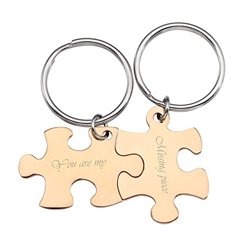 JOVIVI Personalised Puzzle Piece Couples Keyrings His and Hers Men Womens Stainless Steel Engraved Jigsaw Tag Keychains for Couple Friendship,Rose Gold