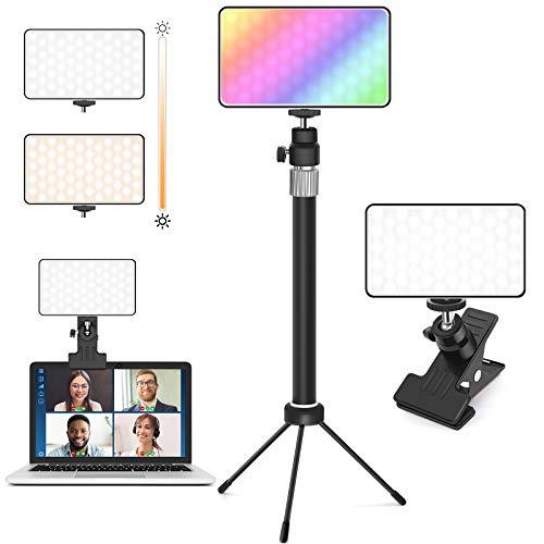 CoMokin Videokonferenz Licht, DimmbareBunt LED Ringlicht Laptop auf Laptop Monitor mit Stativ für Fernarbeit, Fernunterricht, Zoom Anrufbeleuchtung, Live-Streaming, YouTube, TikTok