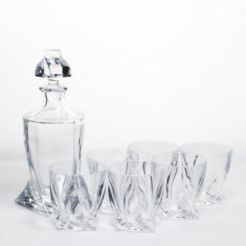 Bohemia Crystallite - Set in cristallo Quadro, composto da bottiglia e 6 bicchieri da whisky
