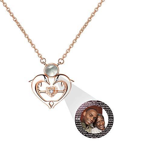 hjsadgasd Personalisierte Foto 100 sprachen ich Liebe Dich Herz projektive Halskette schlüsselbein anhänger für Frauen mädchen